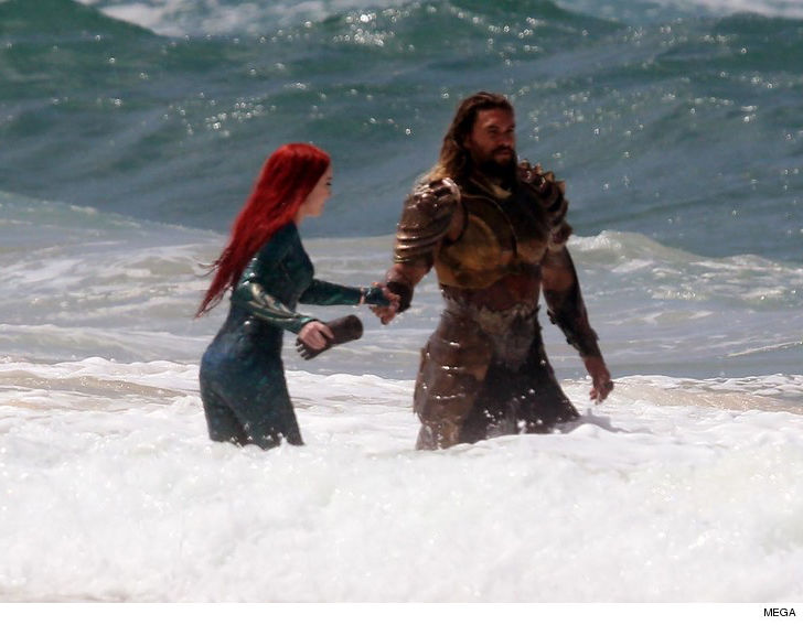 Jason Momoa And Amber Heard Film 'Aquaman' In Australian Surf