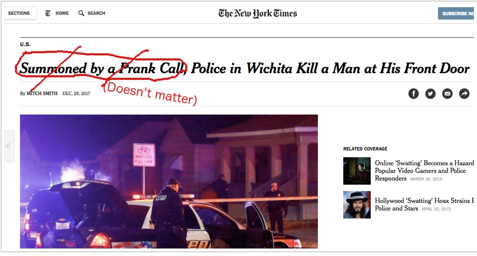 Lee Camp Fixes NY Times' Irresponsible Reporting Of Police Brutality Incident