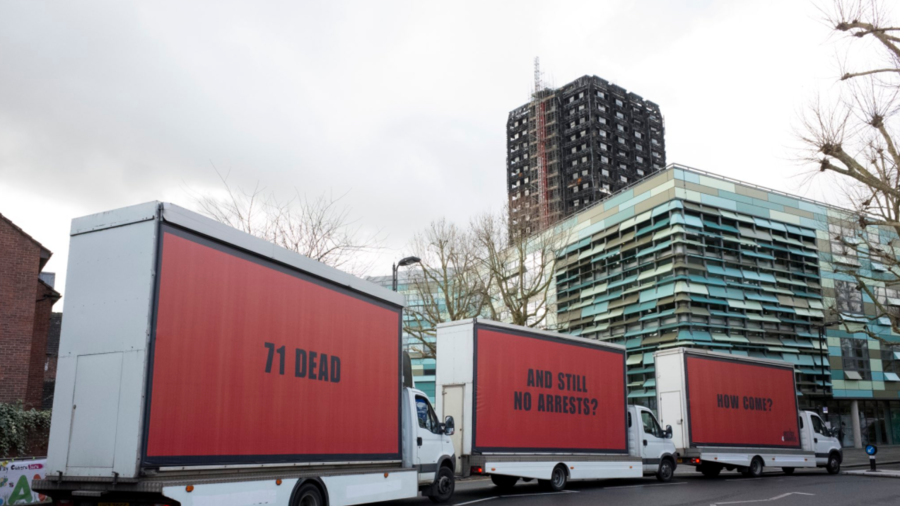 Advertisers affected by Oscar nominee appear outside Grenfell Turret