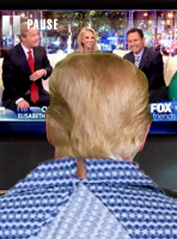 President Trump has been staring at a paused television for three hours waiting for the show to resume.