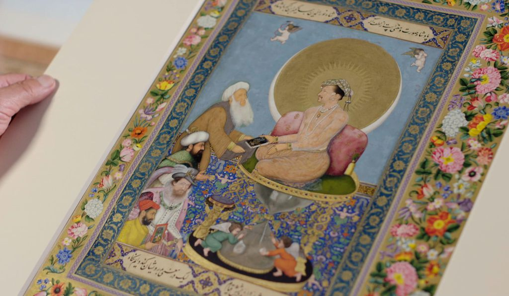 "Connections between India and Renaissance Italy can be seen in the allegorical portrait entitled<em>Jahangir Preferring a Sufi Shaikh to Kings</em> from the St. Petersburg Album; Bichitr; India, Mughal Dynasty, 1615–18.""></noscript></span><figcaption class="