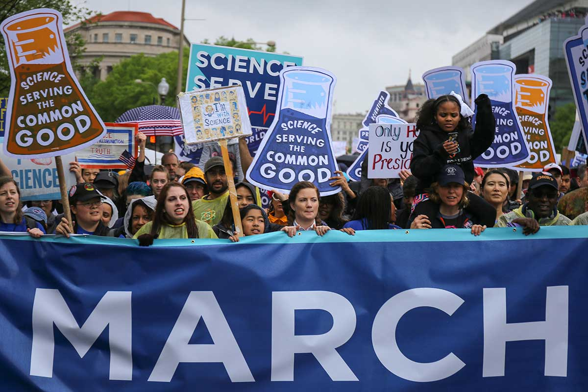 People demonstrating at 2017's inaugural March for Science