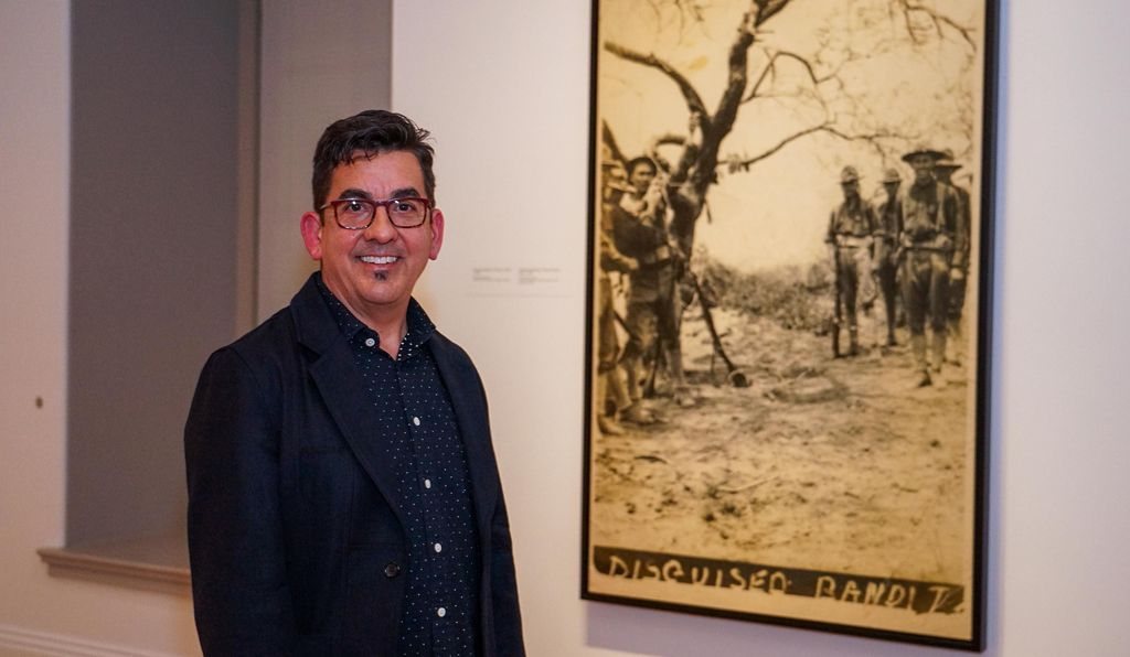 """Artist Ken Gonzales-Day (above, with <em>Disguised Bandit</em>, 2006) uses the """" camera as the main vehicle to really look at systems of representation says curator ta carigol.></noscript></span><figcaption class="""