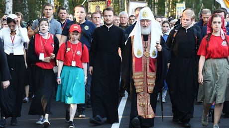 Patriarch Kirill of Moscow and All Russia during a religious procession to mark the 100th anniversary of the royal family's execution, in Yekaterinburg © Pavel Lisitsyn