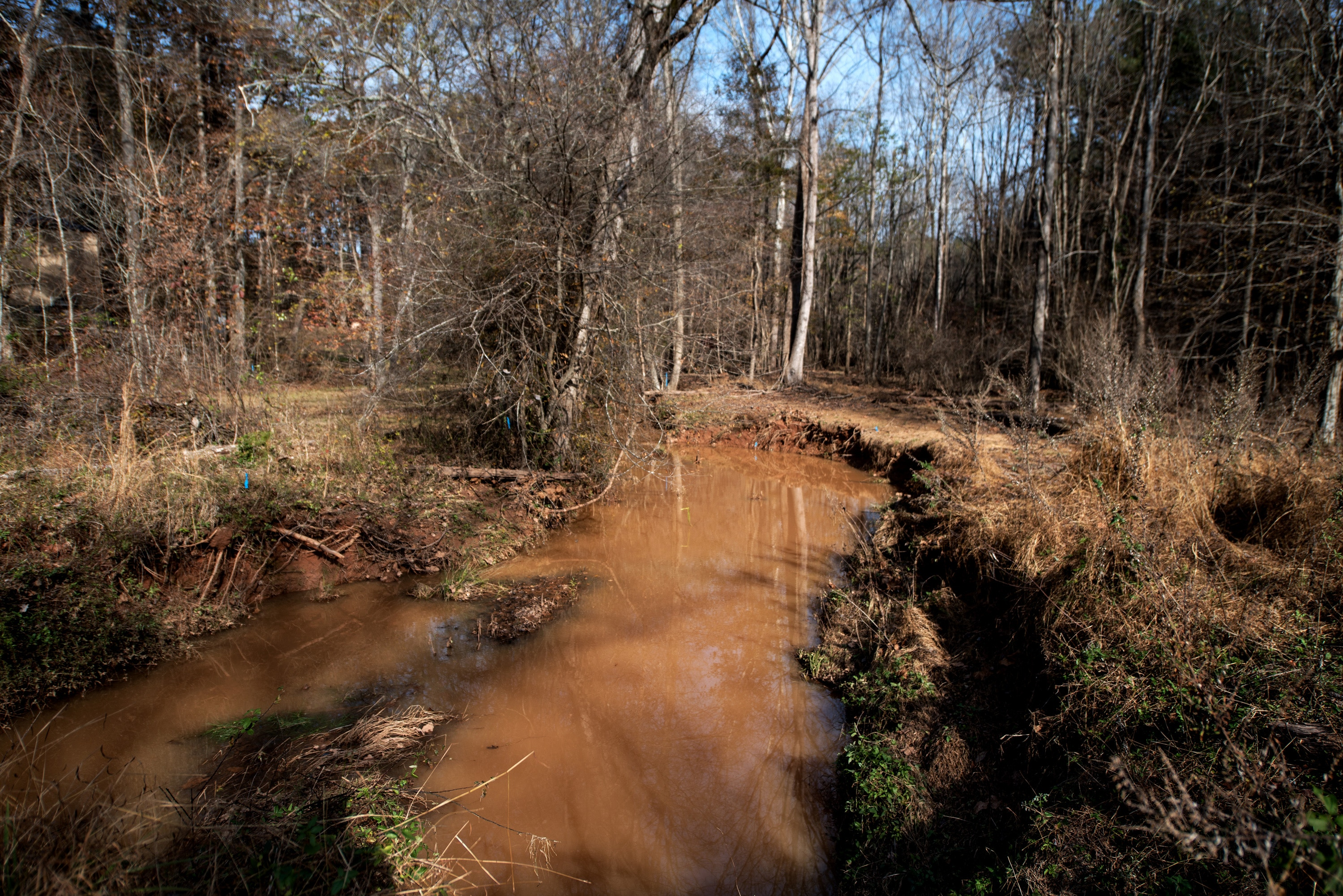 A construction site in Durham county where the development of houses will be, is causing a construction overflow that is causing pollutants to leak into Lick Creek.