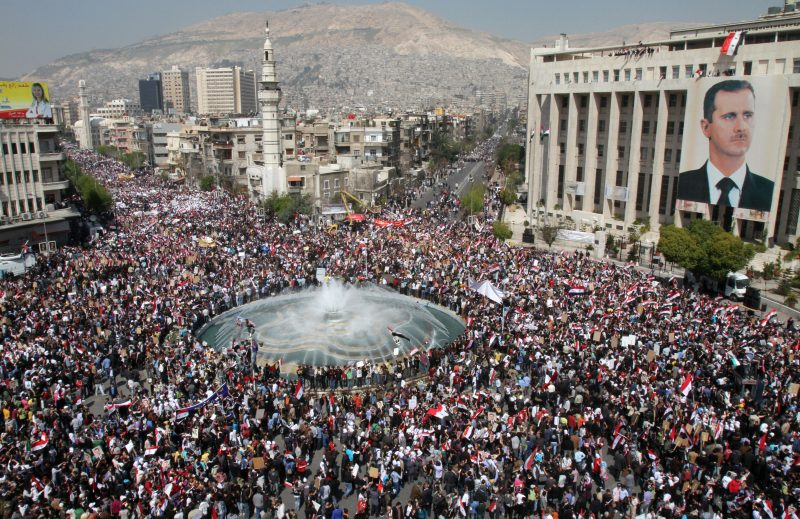 An estimated 2 million Syrians marched in Damascus, Syia in support of President Bashar al-Assad on March 29th, 2011.