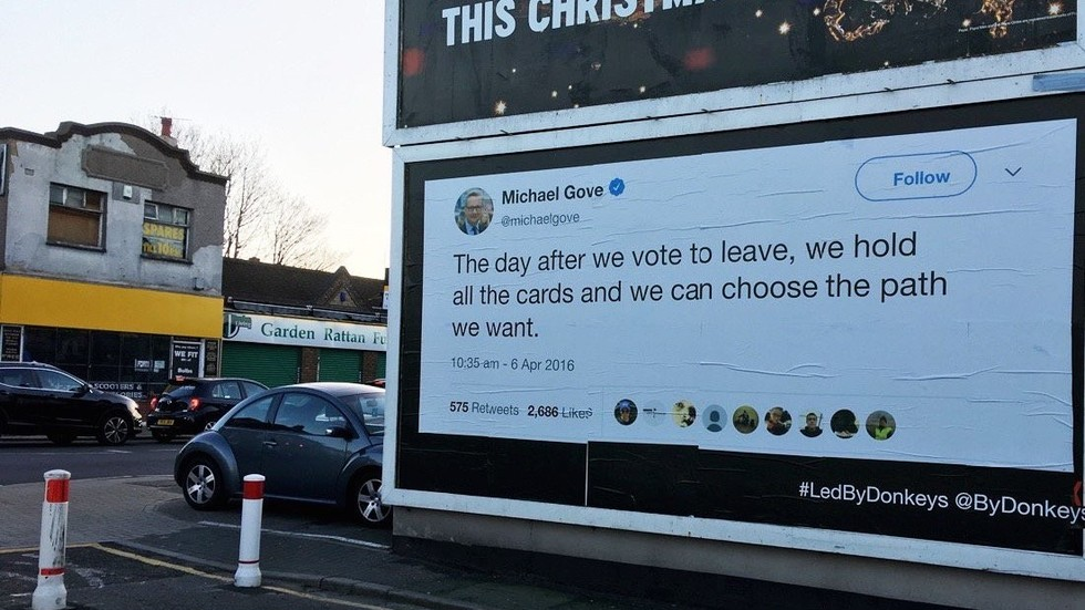 Anti-Brexit group expertly trolls politicians by simply posting past TWEETS on huge billboards