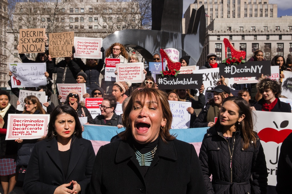 DecrimNY steering committee member Cecilia Gentili speaks at a rally announcing new organizing and legislation to decriminalize sex work in New York state (Scott Heins for The Intercept)