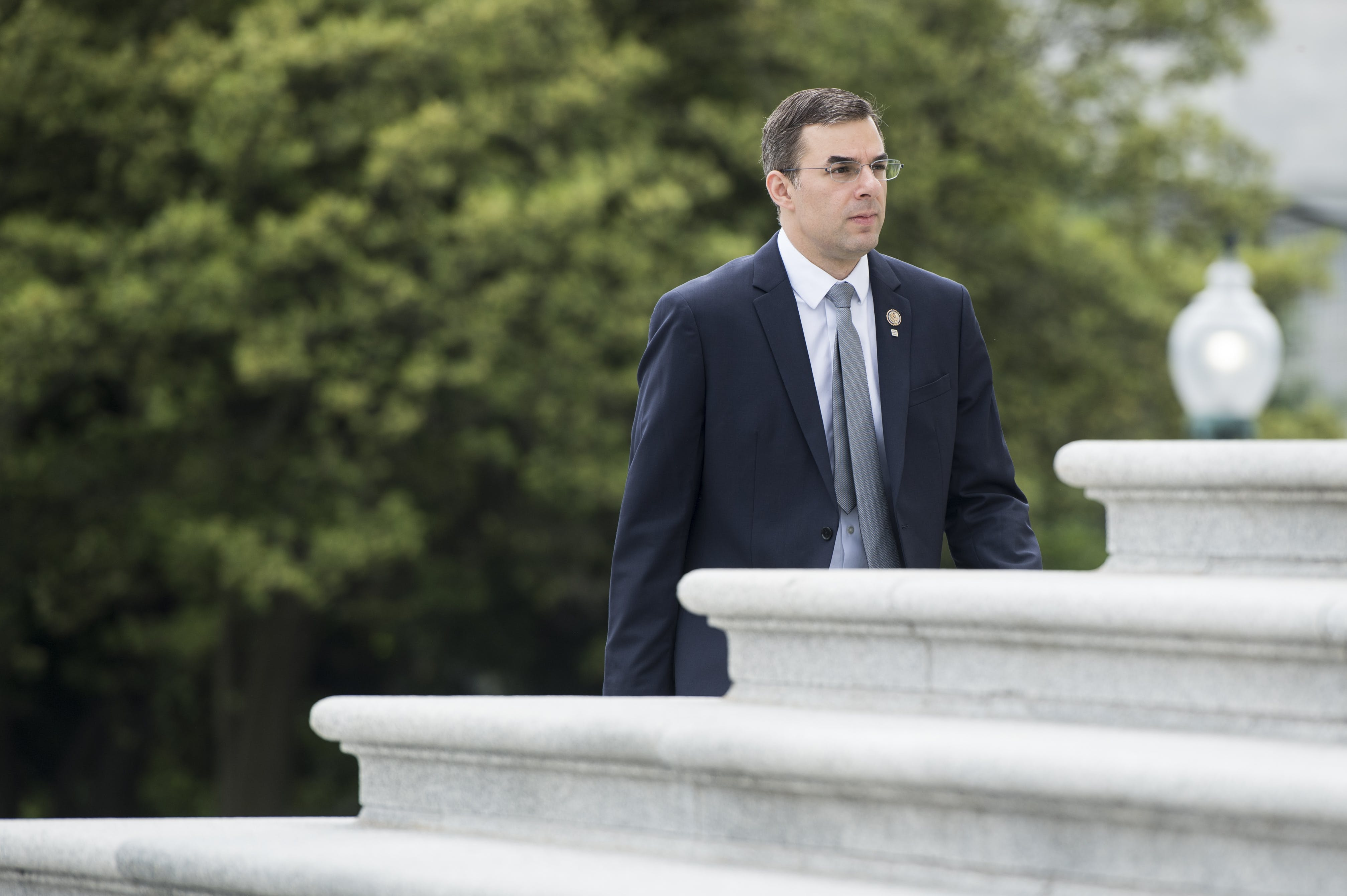 Rep. Justin Amash, R-Mich., walks up the House steps for a vote in the Capitol on Thursday, May 9, 2019. (Photo By Bill Clark/CQ Roll Call via AP Images)