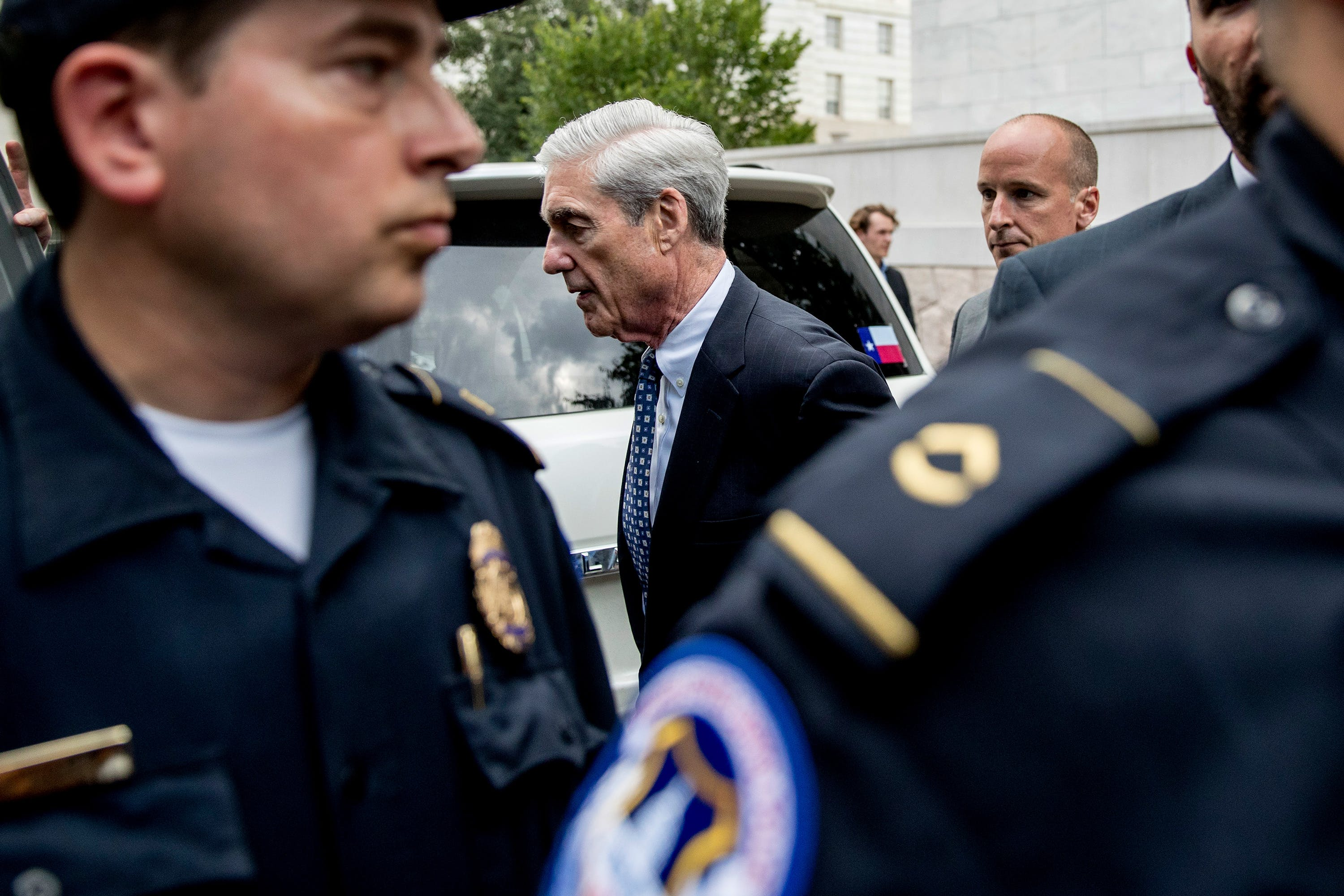 Former special counsel Robert Mueller departs after testifying before the House Intelligence Committee and the House Judiciary Committee on his report on Russian election interference, on Capitol Hill, in Washington, Wednesday, July 24, 2019. (AP Photo/Andrew Harnik)