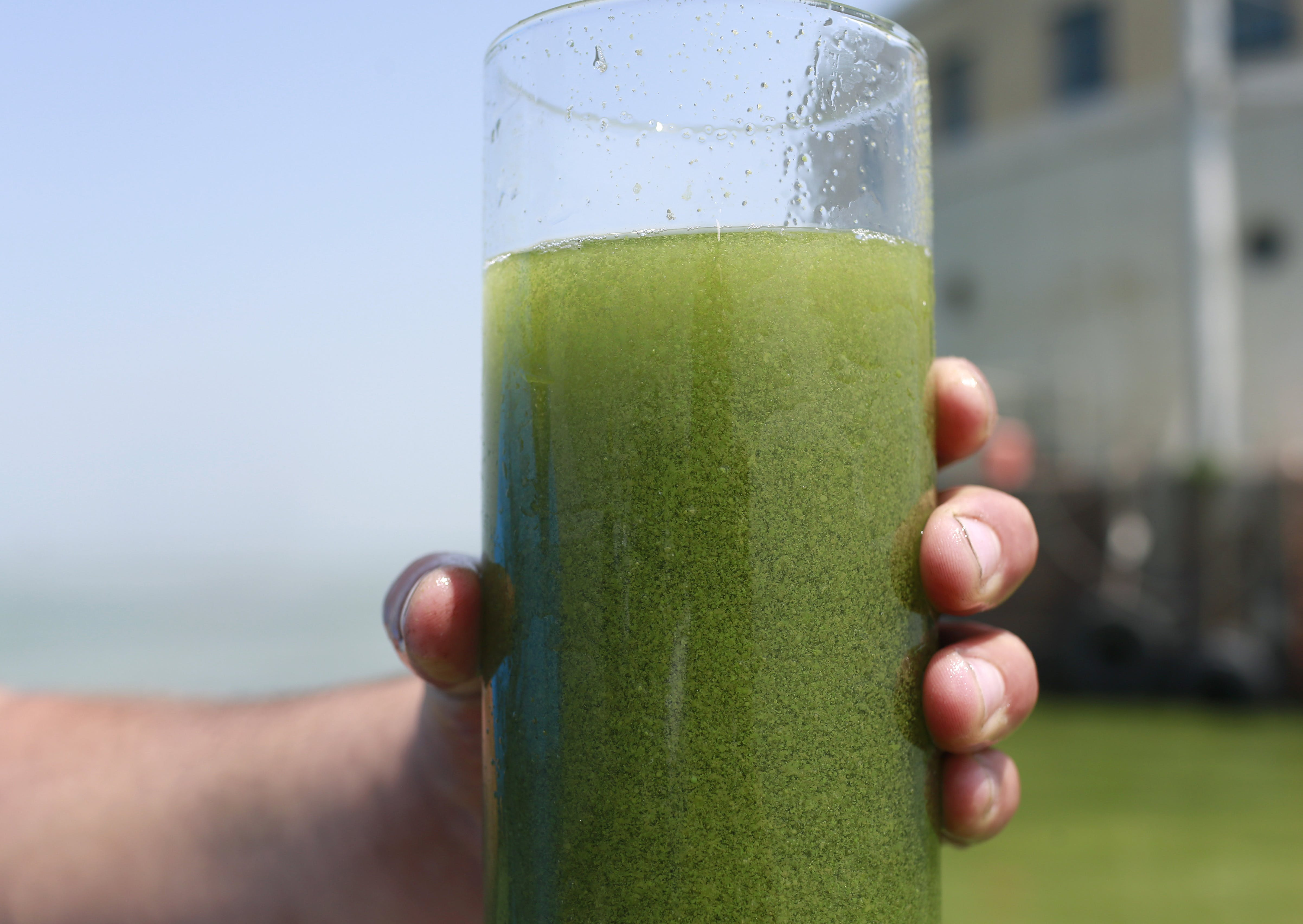 """FILE - In this Aug. 3, 2014 file photo, a sample glass of Lake Erie water is photographed near the City of Toledo water intake crib on Lake Erie, off the shore of Curtice, Ohio. Scientists are predicting a """"significant"""" algae bloom will form this summer on western Lake Erie, a continuing health hazard in a region where algae toxins forced a temporary tap water shutdown in 2014. (AP Photo/Haraz N. Ghanbari, File)"""