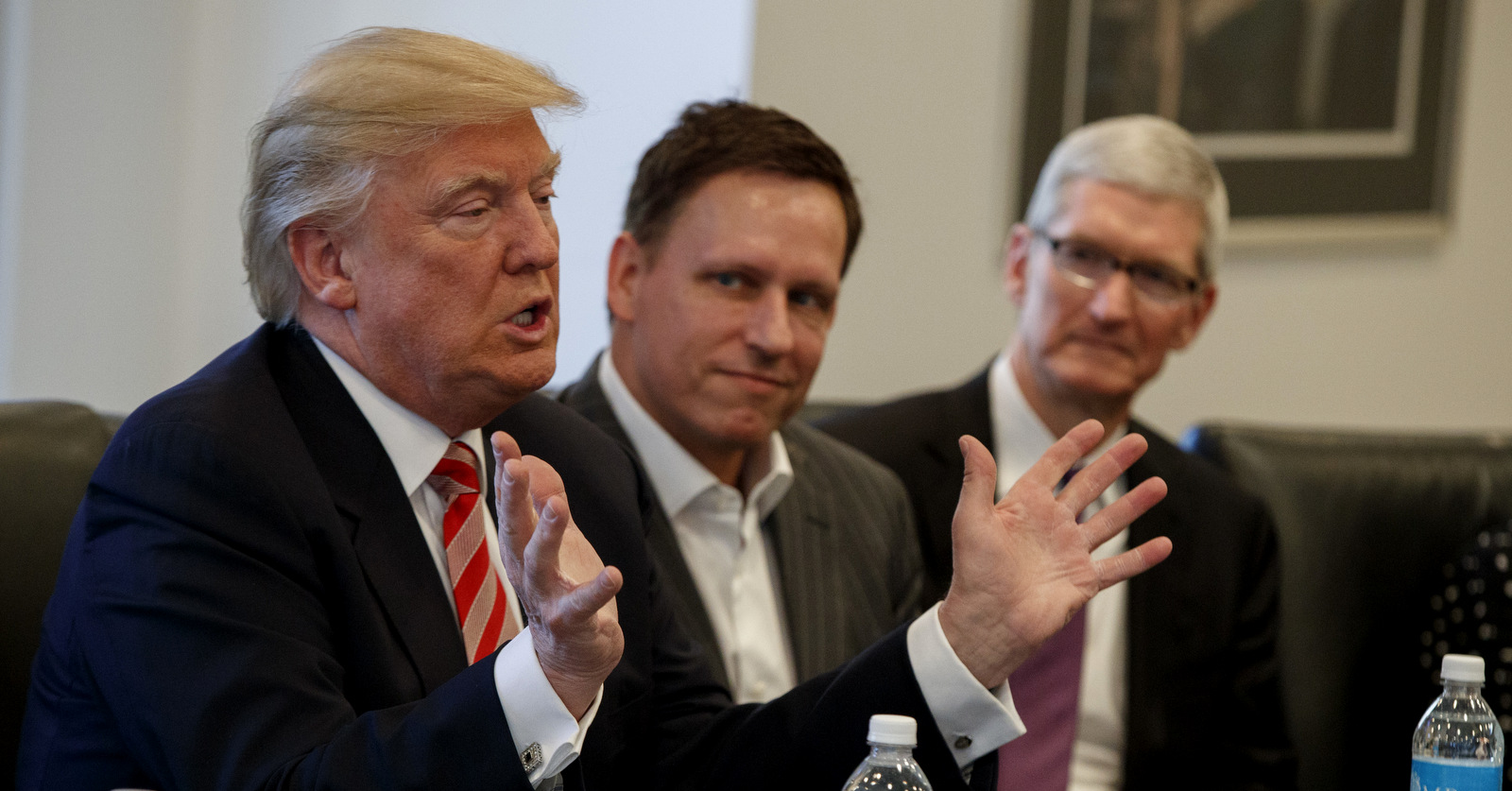 Peter Thiel founder of CIA-funded Palantir, listens as Donald Trump speaks during a meeting with tech leaders at Trump Tower in New York, Dec. 14, 2016. (AP/Evan Vucci)