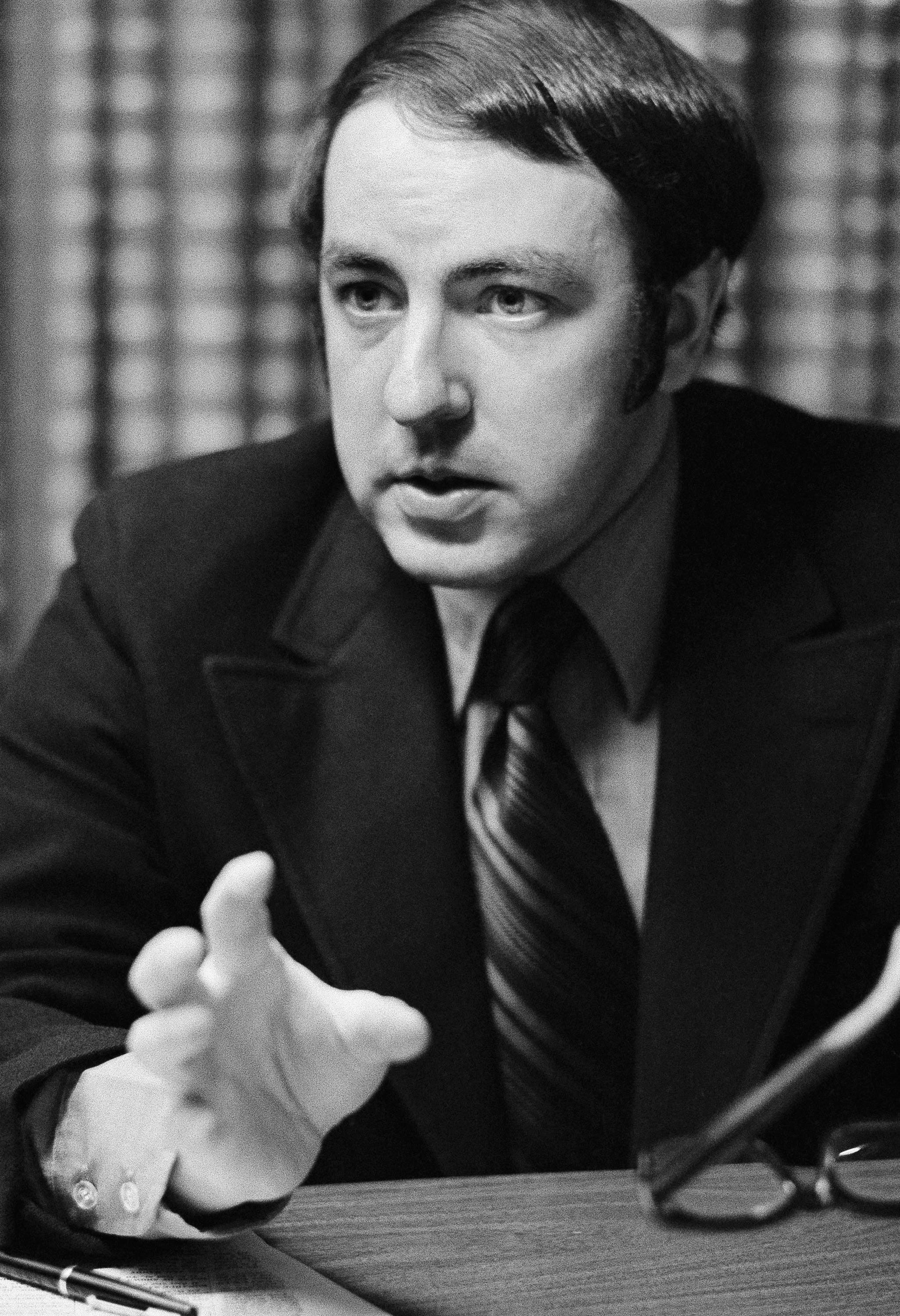 """Roger Ailes, shown in his office, May 18, 1971, New York. Ailes devised the highly successful """"man in the arena"""" televisions appearances for President Nixon in 1968. He believes that when the time comes he will be asked to resume full-time duties as Nixon's television consultant in the 1972 campaign. Meanwhile, he remains a part-time consultant to the President for special projects, as well as having returned to television production. (AP Photo/Jerry Mosey)"""