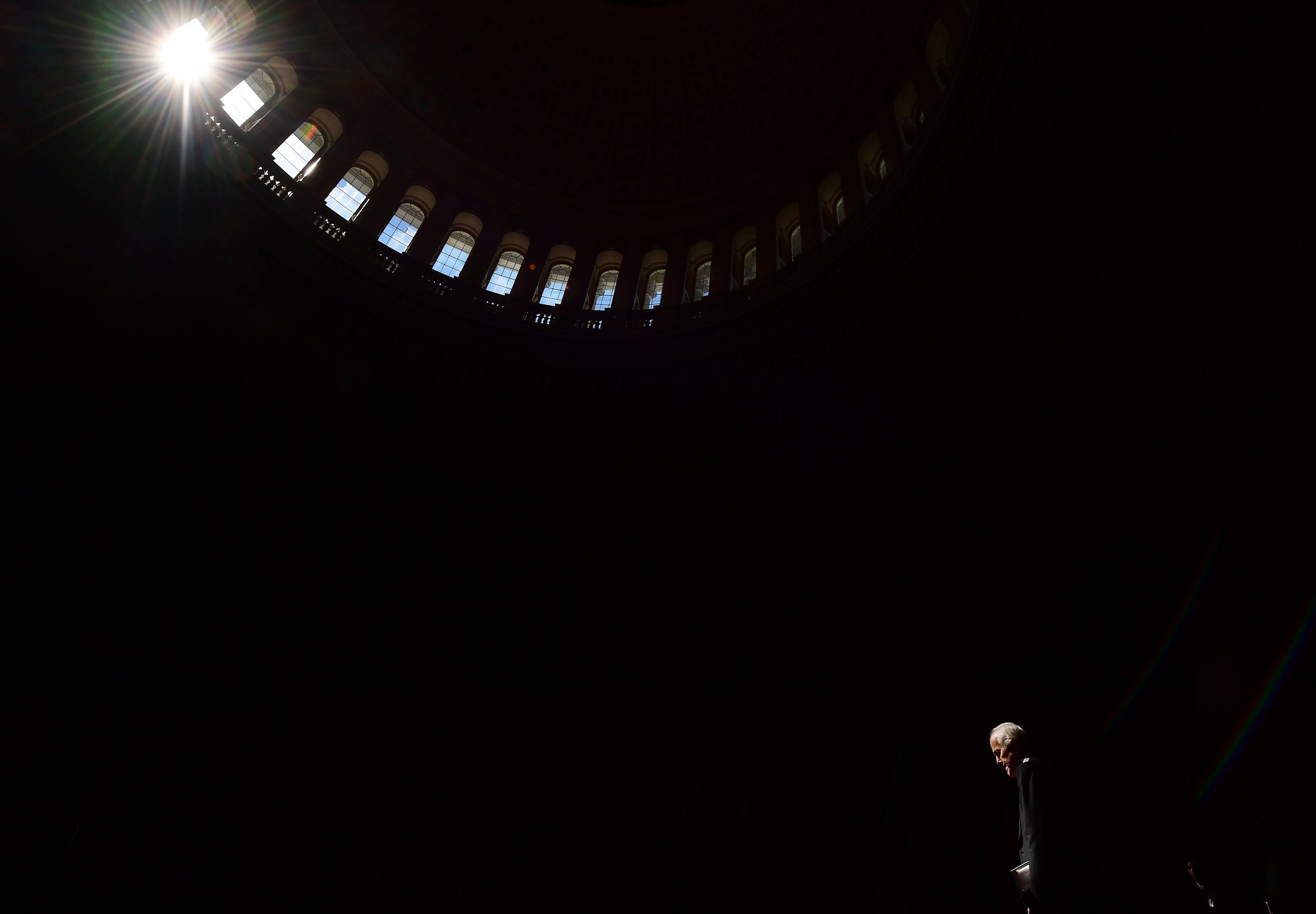 WASHINGTON, DC - MARCH 05: Senator John Cornyn (R-TX) walks through the United States Capitol rotunda on Tuesday March 05, 2019 in Washington, DC. (Photo by Matt McClain/The Washington Post via Getty Images)