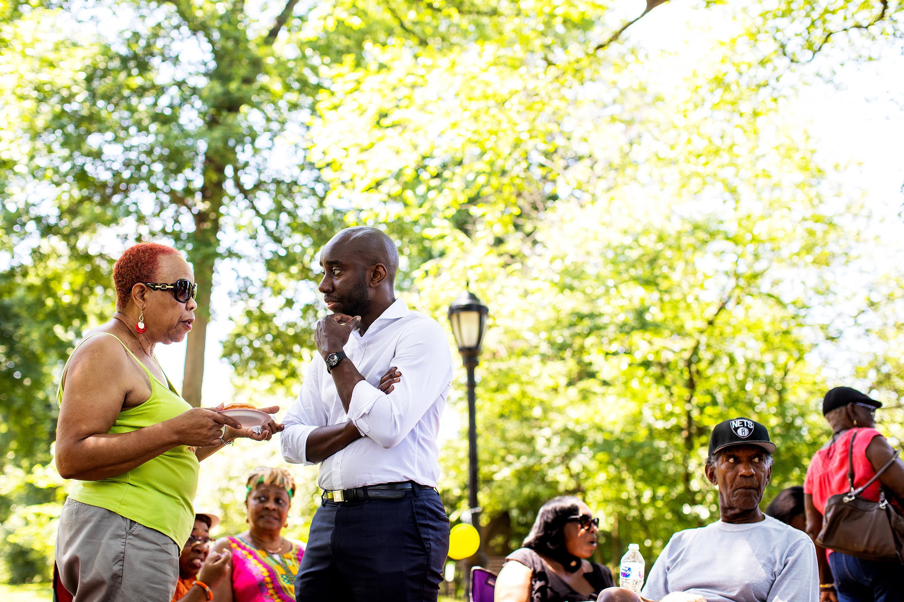 Adem Bunkeddeko at the Flatbush Tenant Coalition's cookout at Prospect Park in Brooklyn, New York, July 13, 2019.