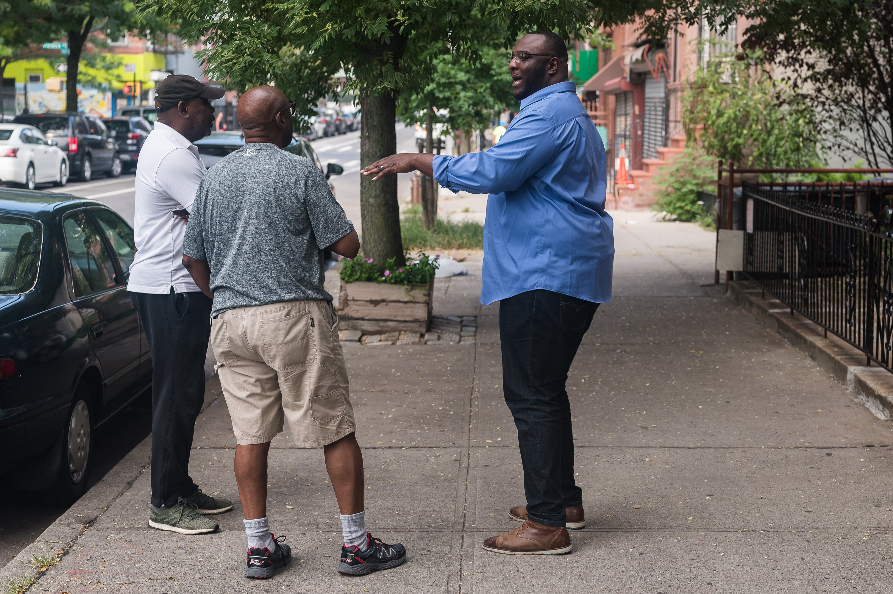 Isiah James talks about his platform with Brooklyn residents. August 19, 2019.