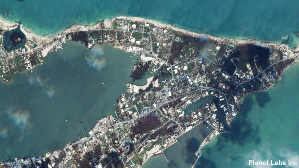 Marsh Harbour in Abaco Islands on 4 September, after Hurricane Dorian