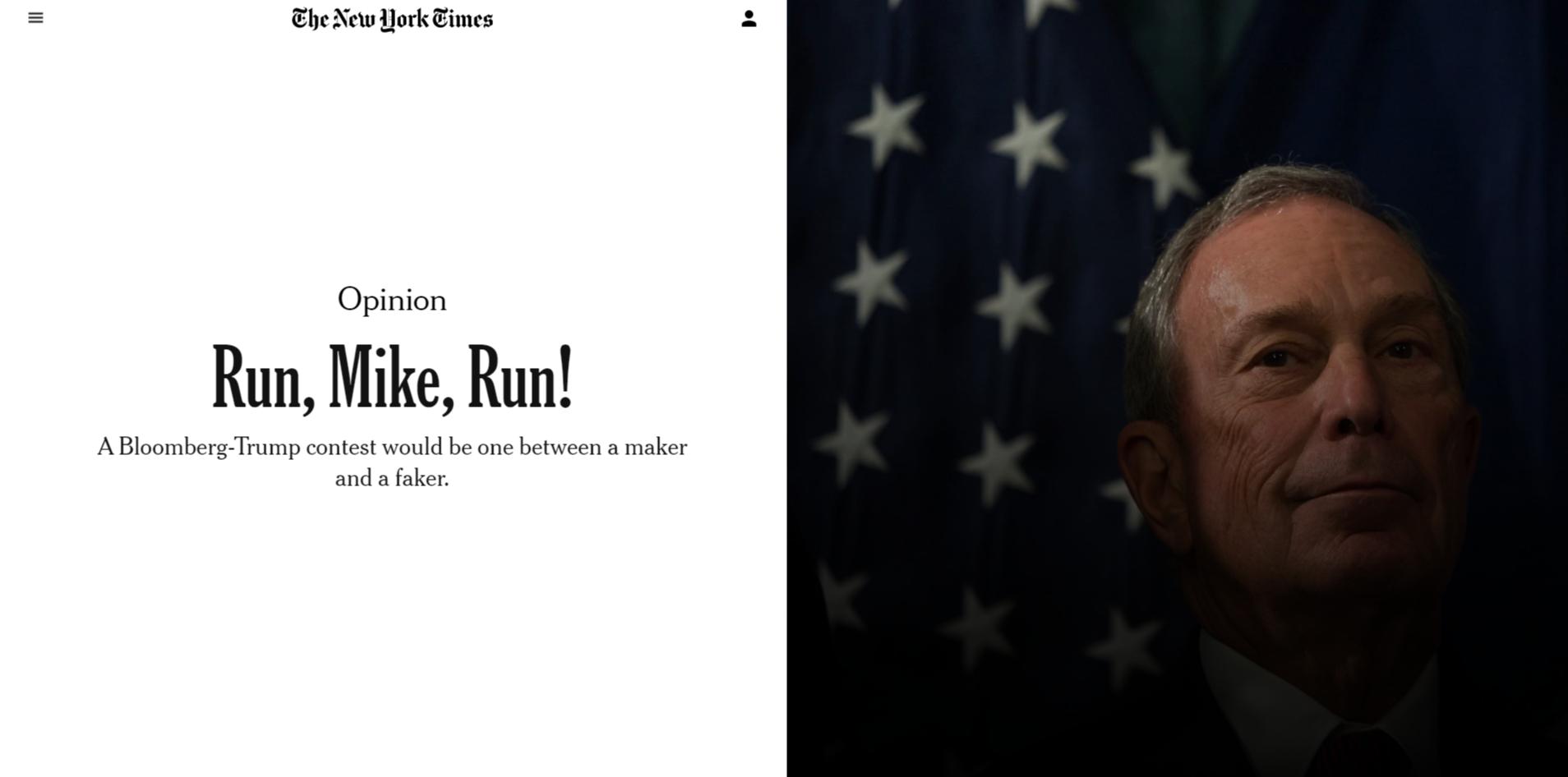 Bloomberg New York Times Endorsement