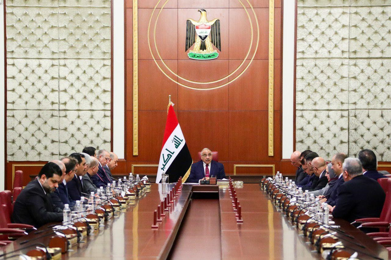 Iraqi Prime Minister Adel Abdul-Mahdi speaks during extraordinary cabinet meeting after he handed his resignation letter to the parliament, in Baghdad, Iraq on November 30, 2019.  (Photo by Prime Ministry of Iraq / Handout/Anadolu Agency via Getty Images)