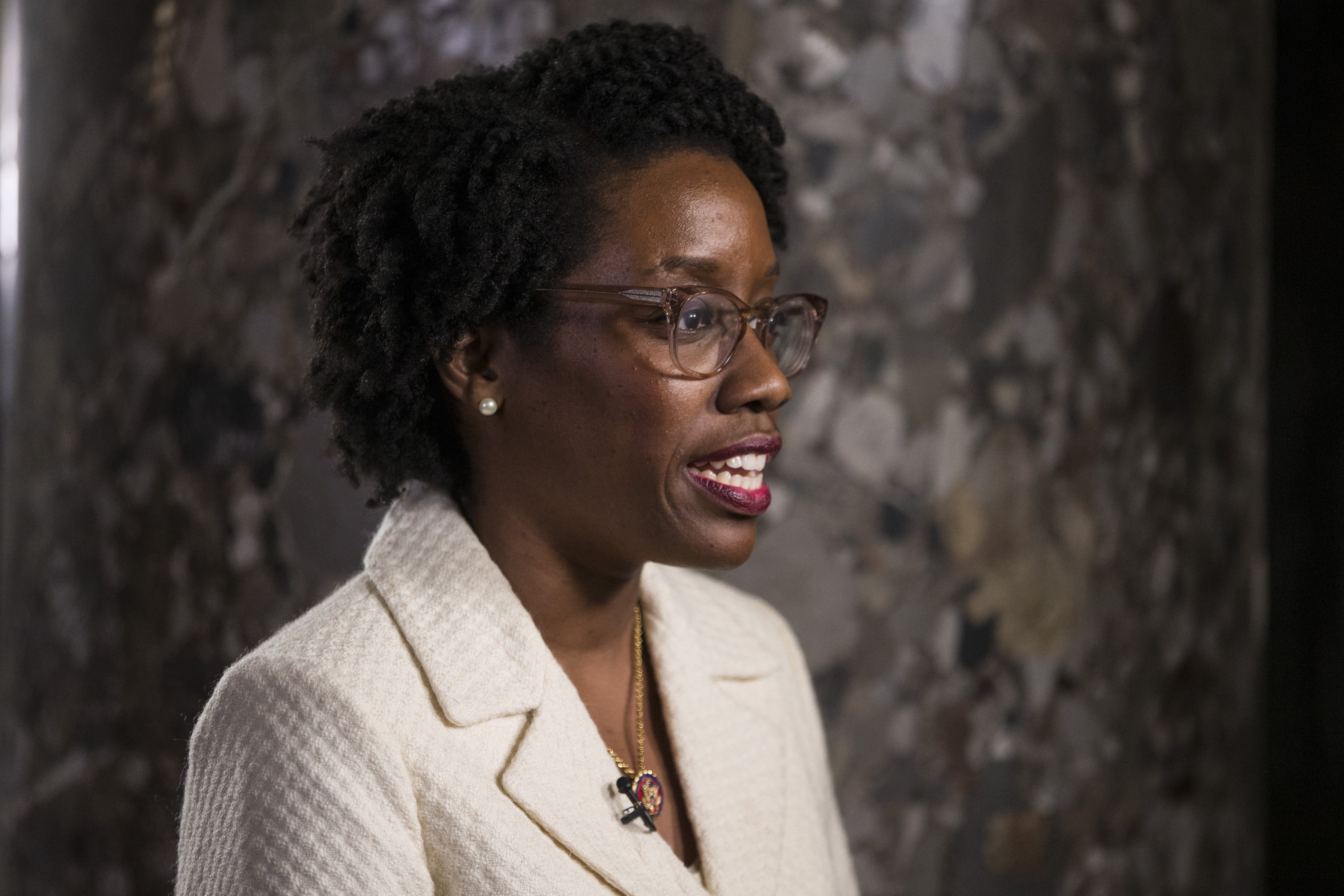 WASHINGTON, DC - FEBRUARY 05: Rep. Lauren Underwood (D-IL) speaks to members of the press ahead of the State of the Union address in the chamber of the U.S. House of Representatives at the U.S. Capitol Building on February 5, 2019 in Washington, DC. President Trump's second State of the Union address was postponed one week due to the partial government shutdown.  (Photo by Zach Gibson/Getty Images)