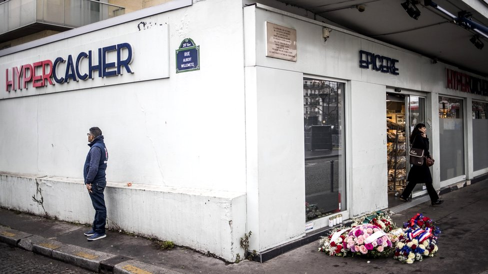 The Hyper Cacher grocery store in a Paris suburb, 7 January 2020