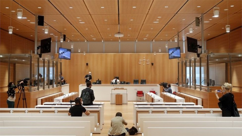 Courtroom where the trial against the alleged accomplices in the Charlie Hebdo attack will take place in Paris