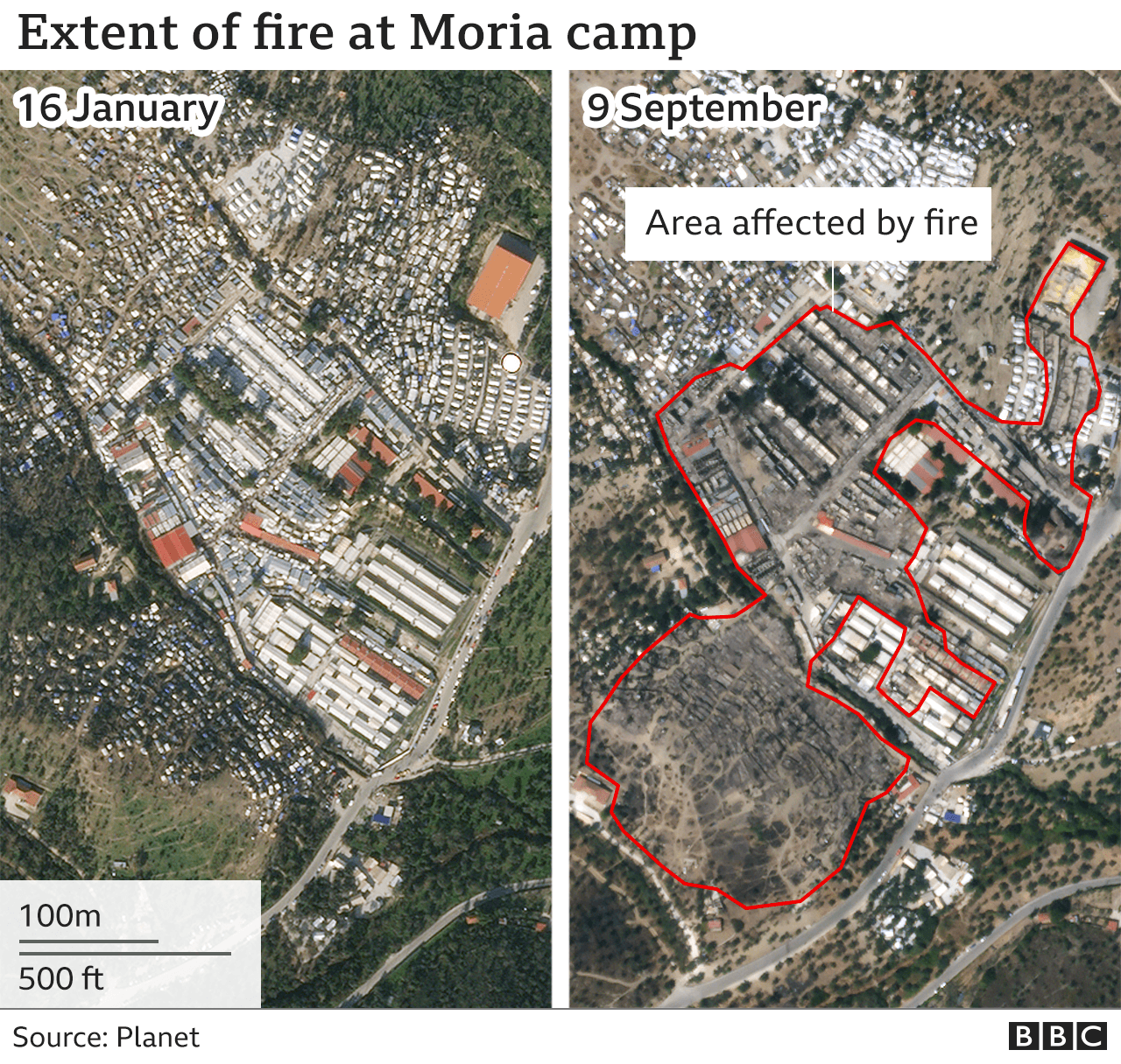 Map showing extent of the fire at the Moria camp
