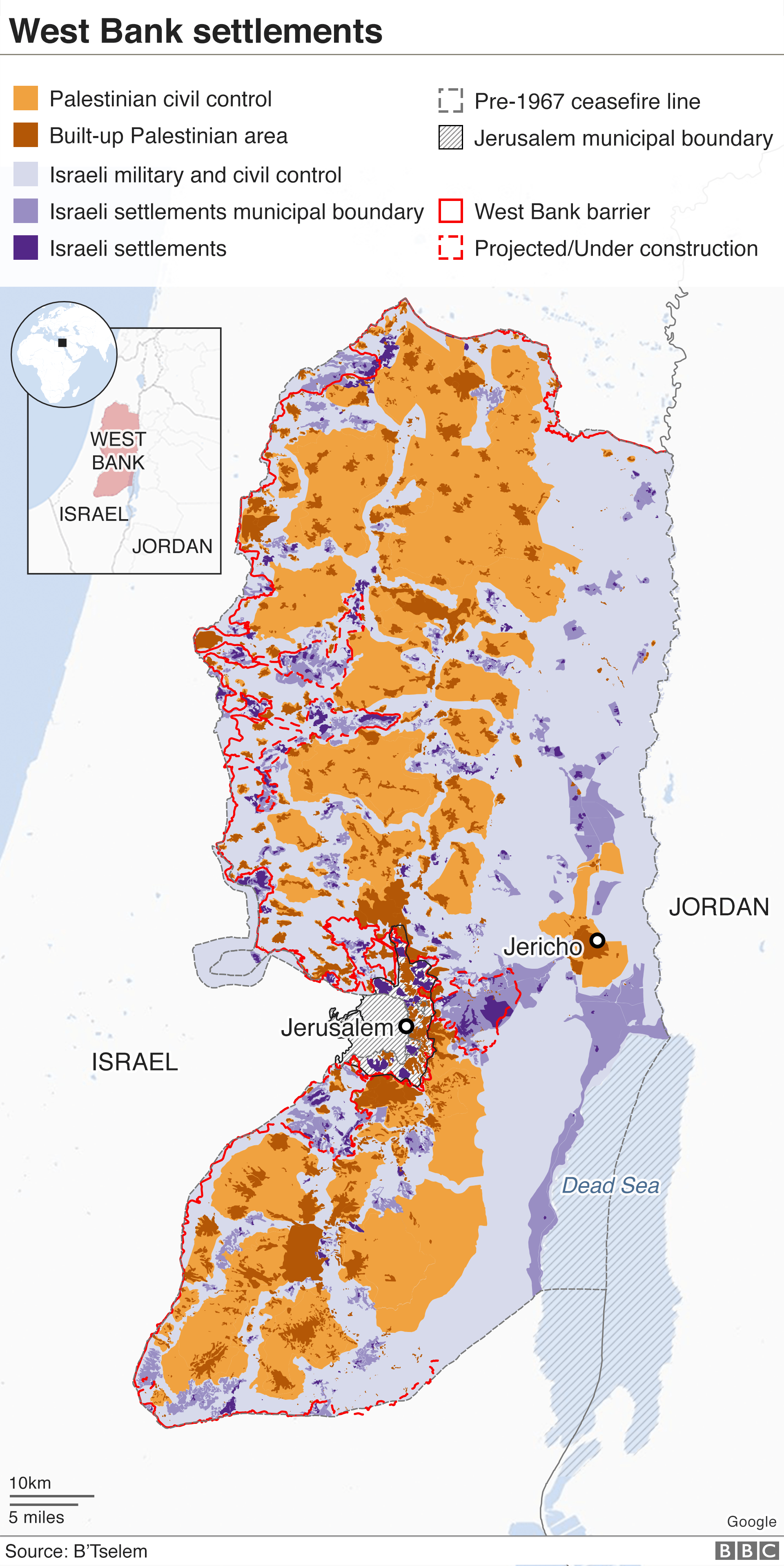 Map of the West Bank settlements