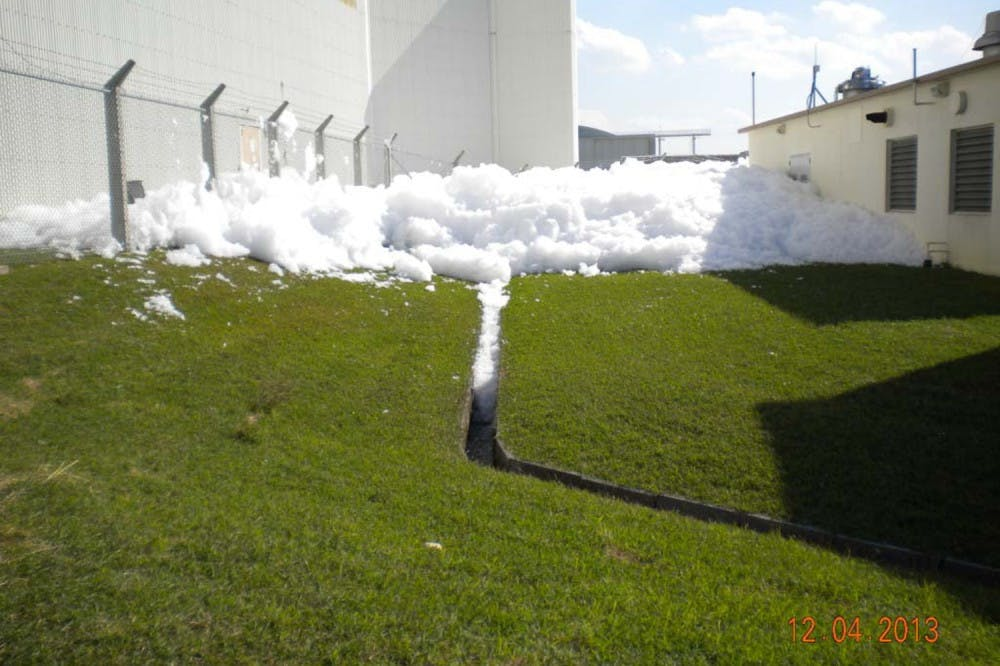 On Kadena Air Base, Okinawa prefecture, an accident blamed on a malfunctioning sprinkler system discharged tens of thousands of liters of firefighting foam in December 2013. (Photos obtained from USAF via the US Freedom of Information Act)