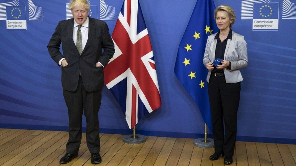Boris Johnson and Ursula von der Leyen in Brussels - 9 December