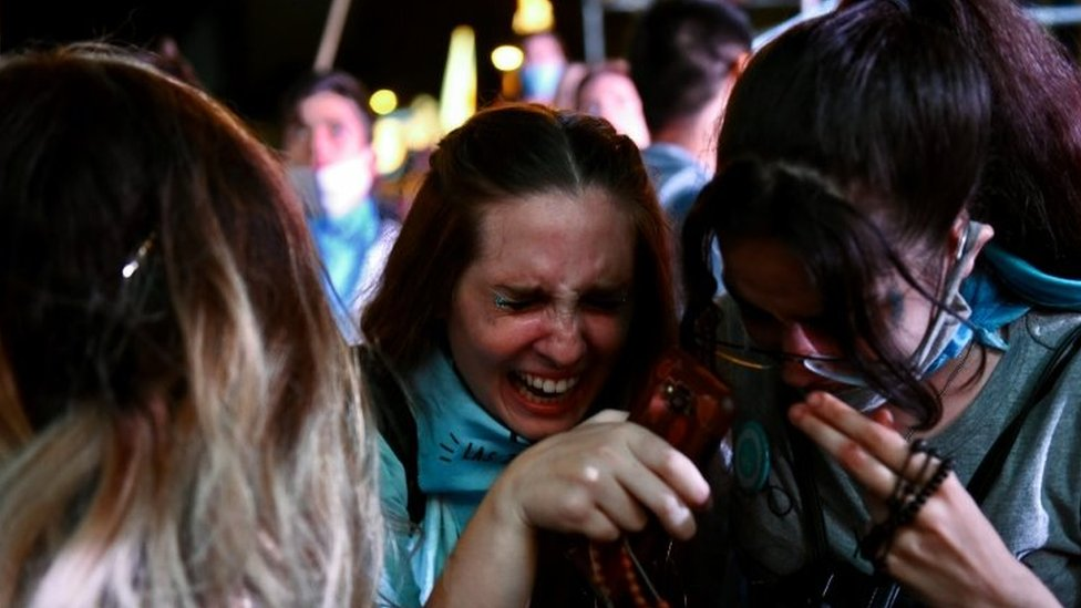 Anti-abortion demonstrators react as the senate debates an abortion bill, in Buenos Aires, Argentina, December 30, 2020.