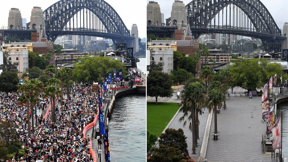 Sydney's Circular Quay on New Year's Eve of 31 December 2019 and of 31 December 2020