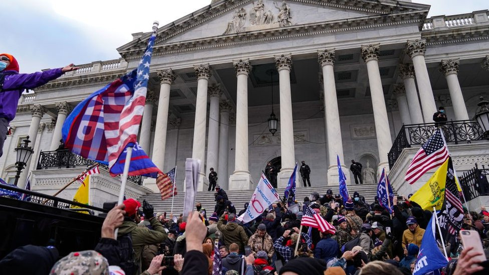 "Crowds gather outside the U.S. Capitol for the ""Stop the Steal"" rally on 6 January, 2021"