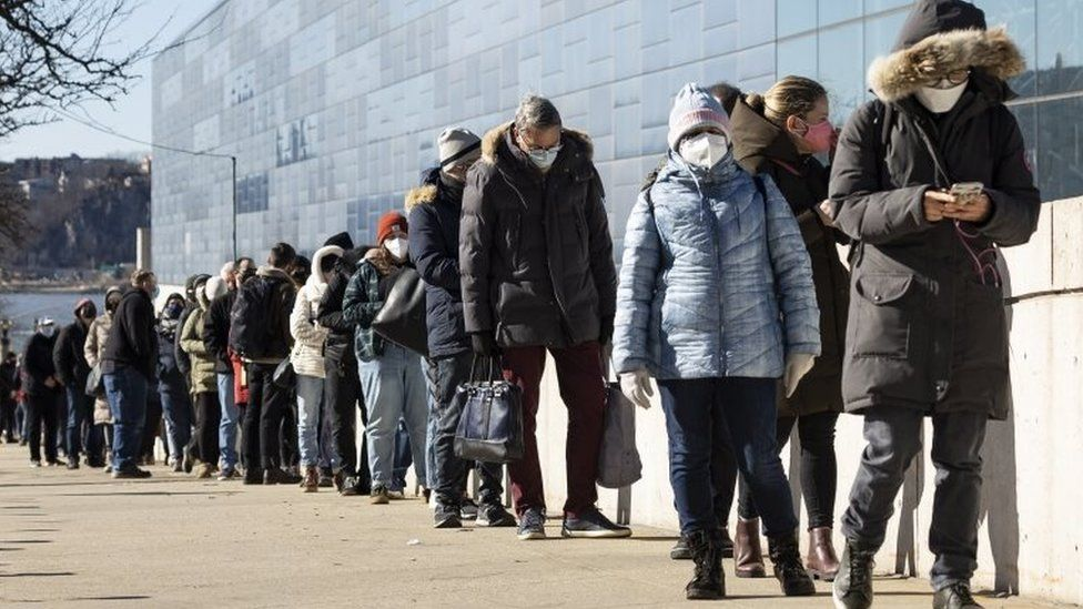 A queue for vaccinations in New York