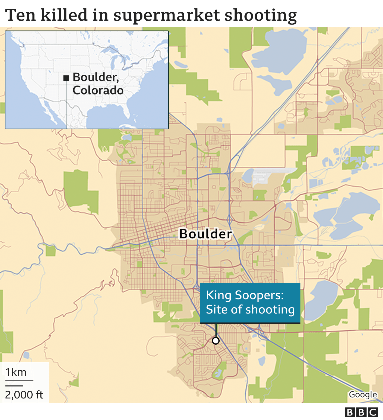 Map shows site of shooting