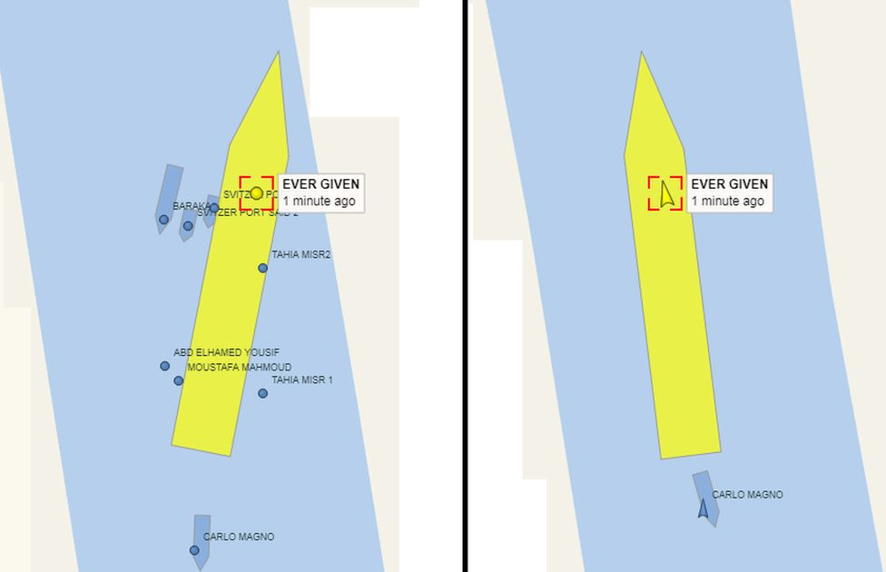 Image shows the movement of the ship on Monday