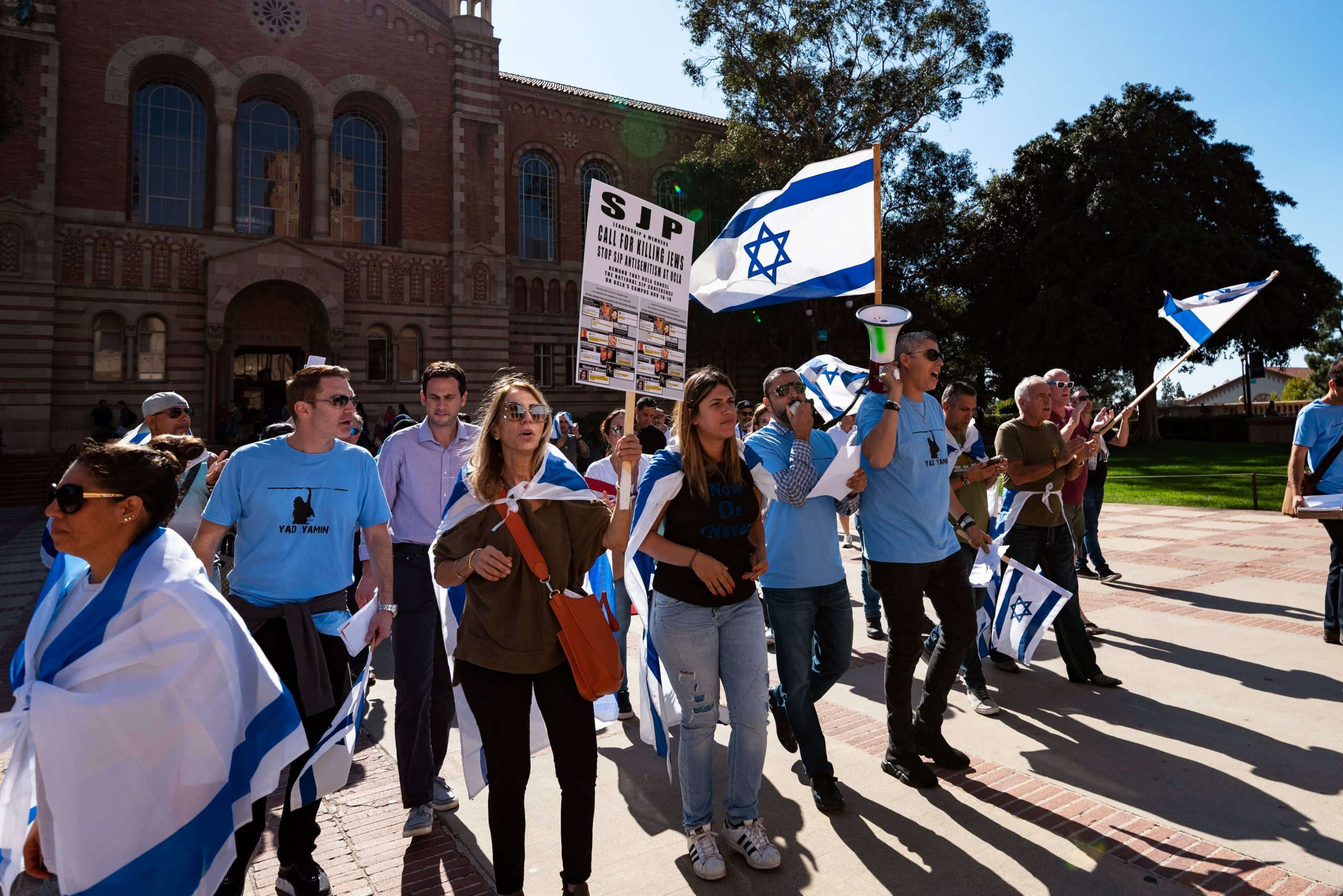 Members of the Jewish community and their allies protest anti-Semitism and the upcoming National Students for Justice in Palestine conference at the UCLA campus in Los Angeles, California on November 6, 2018. The Los Angeles City Council called on UCLA to cancel the NSJP conference over fears that it will promote anti-Semitism. (Photo by Ronen Tivony/NurPhoto via Getty Images)