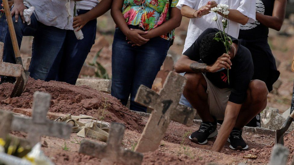 Relatives of a victim of the novel coronavirus disease Covid-19 mourn as their loved one is buried