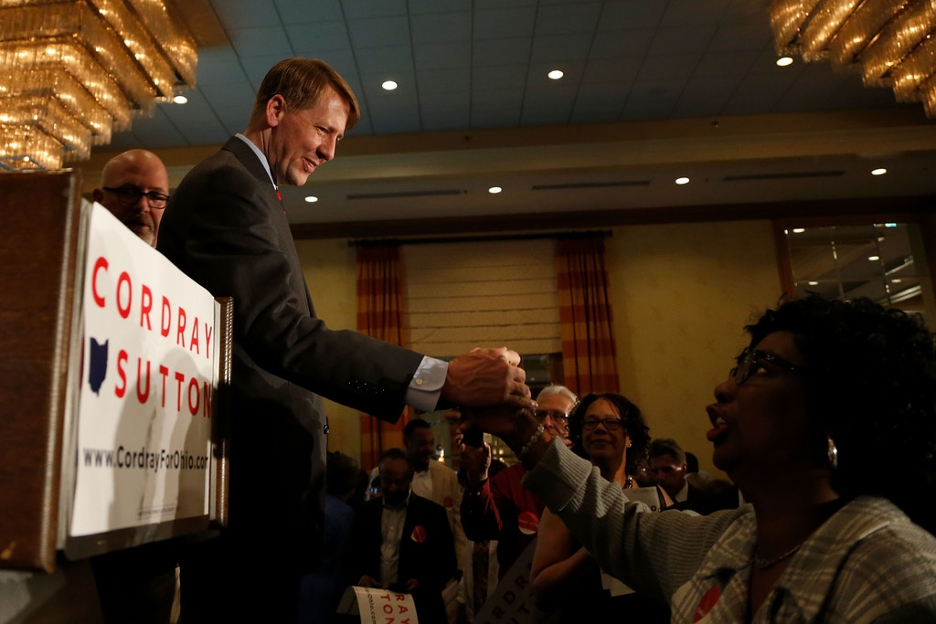 COLUMBUS, OH - MAY 08:  Democratic Gubernatorial candidate Richard Cordray shakes hands with supporters after speaking during a primary night event on May 8, 2018 in Columbus, Ohio. Cordray, the former director of the Consumer Finance Protection Bureau, defeated Larry Ealy, former U.S. Rep. Dennis Kucinich, Ohio Supreme Court Justice Bill O'Neill, Paul Ray, and Ohio State Senator Joseph Schiavoni. (Photo by Kirk Irwin/Getty Images)